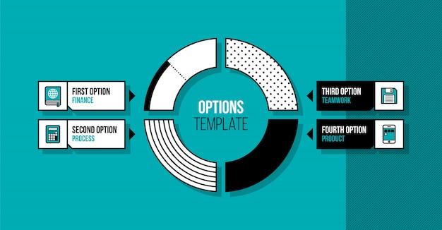 Kreisdiagramm infographics schablone mit vier segmenten
