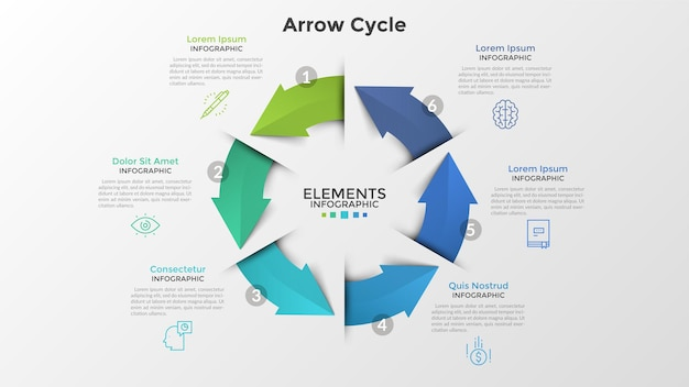 Kreisdiagramm mit sechs bunten pfeilen, linearen symbolen und platz für text. konzept des 6-stufigen geschlossenen produktionszyklus. kreative infografik-design-vorlage. vektorillustration für broschüre.