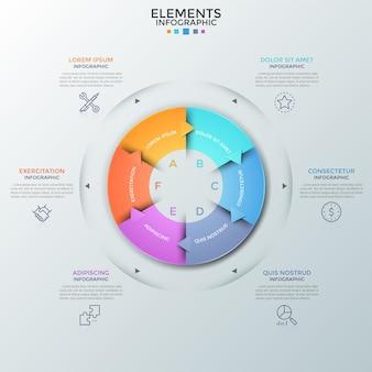 Kreisdiagramm, unterteilt in 6 bunte teile mit pfeilen, dünnen liniensymbolen und textfeldern. konzept von sechs aufeinander folgenden schritten der geschäftsentwicklung. infografik-design-vorlage. vektor-illustration.