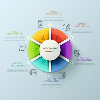 Kreisdiagramm, unterteilt in 6 bunte teile und umgeben von dünnen liniensymbolen und textfeldern. konzept der vom internethändler erbrachten dienstleistungen.