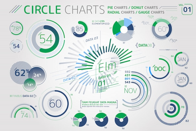 Kreisdiagramme, kreisdiagramme, radialdiagramme und messuhrdiagramme infografik-elemente