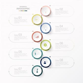 Kreise infografik und symbole mit 8 schritten.