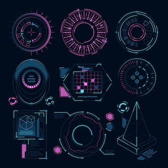 Kreisen sie futuristische formen für digitale netzschnittstelle, hud-sciencefiction-symbole ein