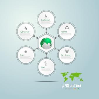Kreisen sie infografiken der grünen energie in der welt ein