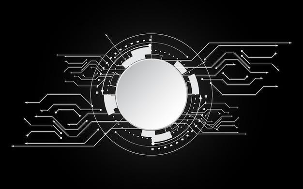 Kreisen sie leerraumtechnologie auf schwarzem hintergrund ein Premium Vektoren