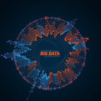 Kreisförmige big-data-visualisierung. futuristische infografik. informationsästhetisches design. visuelle datenkomplexität. komplexe daten-thread-grafik. darstellung in sozialen netzwerken. abstraktes diagramm.