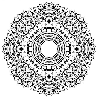 Kreisförmige dekorative verzierung im ethnisch orientalischen stil, in form eines mandalas mit blumendekor. umriss gekritzel hand zeichnen illustration.