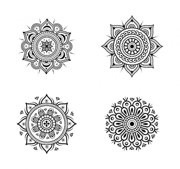 Kreisförmige floral mandala festgelegt