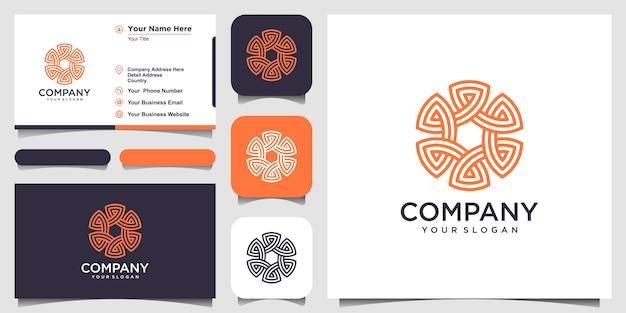 Kreisförmige form der abstrakten verzierung mit strichgrafiken. logo- und visitenkarten-design
