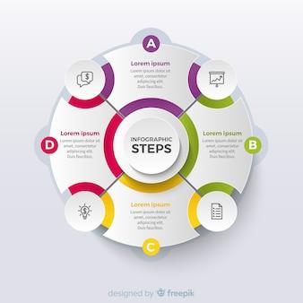Kreisförmige infografik-schritte