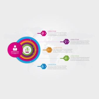 Kreisförmige infografik-vorlage für dünne linien