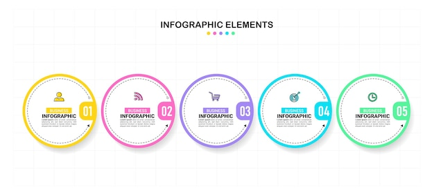 Kreisförmige infografik-vorlage mit fünf schritten.