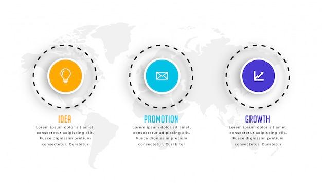 Kreisförmige infografikschablone mit drei schritten im modernen stil