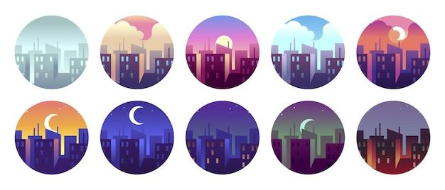 Kreisförmige landschaften der stadt. morgendämmerung stadt sonniger tag und abendsonnenuntergang, abenddämmerung stadtlandschaft. runde vektor-icon-set. runde stadtsymbole