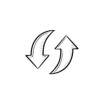 Kreisförmige pfeile handgezeichnete umriss-doodle-symbol. recyclingprozess und umweltkreislaufkonzept. pfeilvektorskizzenillustration für druck, netz, handy und infografiken lokalisiert auf weißem hintergrund.