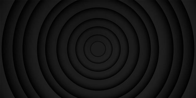 Kreisförmige überlappungsschicht des abstrakten schwarzen rahmenhintergrundes mit dunklem minimalem design der kreisform