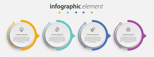 Kreisförmige zeitleiste schritte infografiken vorlage design