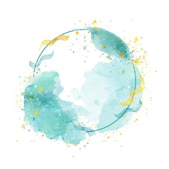 Kreisförmiger blauer rahmen im aquarellstil