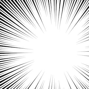 Kreisförmiger radialer schwarzer weißer stiel im pop-art-stil. radialformstrahl.