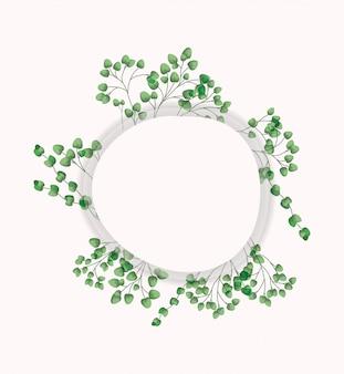 Kreisförmiger rahmen mit lorbeerblättern