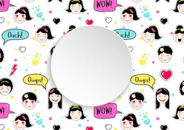 Kreisförmiges banner mit nahtlosem muster der anime-emoji-aufkleber.