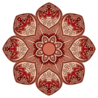 Kreisförmiges farbmuster in form eines mandalas mit blume zur dekoration oder zum drucken. dekorative verzierung im ethnisch orientalischen stil. rotes design auf weißem hintergrund.