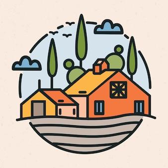 Kreisförmiges logo mit dorflandschaft, scheunen- oder ranchgebäude und bebautem feld im linearen stil