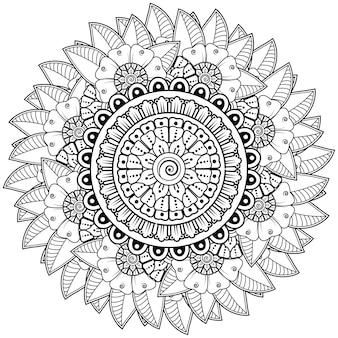 Kreisförmiges muster in form eines mandalas mit blume für dekorative verzierung der henna-mehndi-tätowierungsdekoration in malbuchseite des ethnischen orientalischen stils