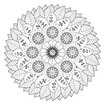 Kreisförmiges muster in form eines mandalas mit blume in der malbuchseite des ethnischen orientalischen stils