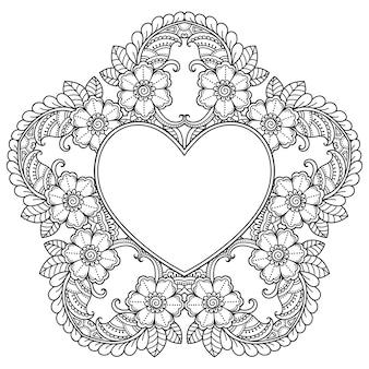 Kreisförmiges muster in form eines mandalas mit rahmen in form eines herzens.