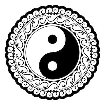 Kreisförmiges muster in form von mandala für henna, mehndi, tätowierung, dekoration. dekoratives ornament im ethnischen orientalischen stil mit yin-yang-hand gezeichnetem symbol. umreißen sie doodle-vektor-illustration.