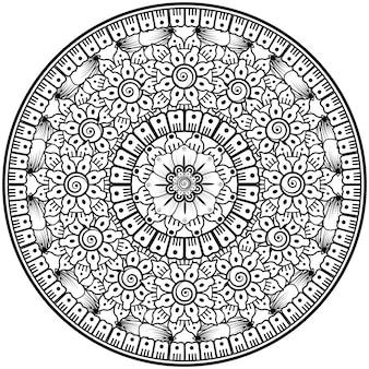 Kreisförmiges muster in form von mandala mit blume für henna-mehndi-tattoo-dekoration