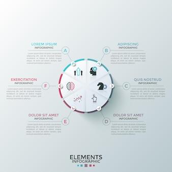 Kreisförmiges tortendiagramm, unterteilt in 6 teile mit flachen symbolen im inneren und pfeilen, die auf textfelder zeigen. konzept von sechs funktionen des startprojekts. infografik-design-layout.