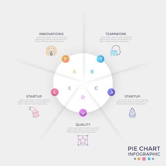 Kreisförmiges weißes papierdiagramm, unterteilt in 5 gleiche teile mit bunten pfeilen, die auf lineare symbole und textfelder zeigen. einfache infografik-design-vorlage. vektorillustration für broschüre, bericht.