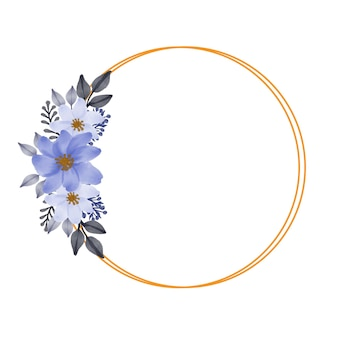 Kreisgoldrahmen mit lila blumenstrauß für hochzeitseinladung