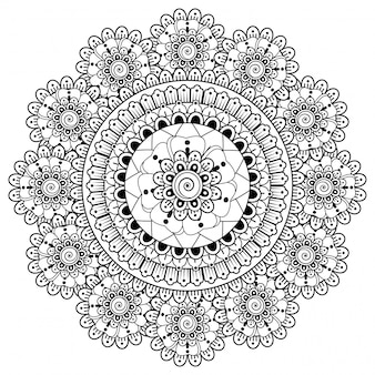 Kreismandala. mehndi-stilillustration
