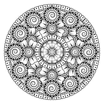 Kreismuster in form eines mandalas mit blume. dekorative verzierung in ethnisch orientalischem stil malvorlagen