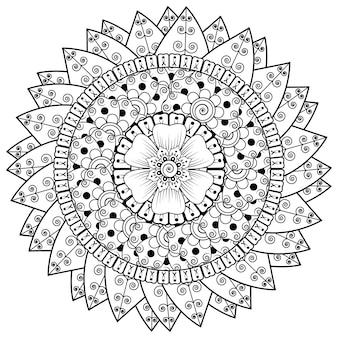 Kreismuster in form eines mandalas mit blume für henna mehndi tattoo dekoration. mehndi blumendekoration im ethnischen orientalischen indischen stil.