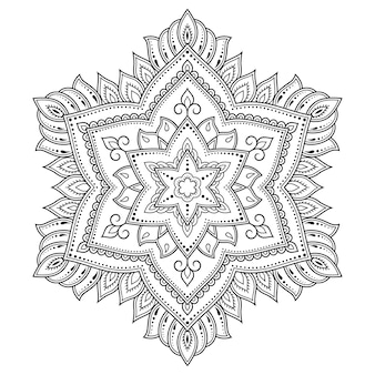 Kreismuster in form eines mandalas mit blumenillustration