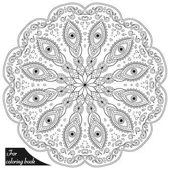 Kreismuster in mandala-form mit floralen einsätzen