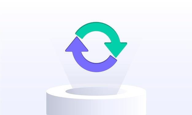Kreispfeile auf einem lichtstrahl pfeilsymbol aktualisieren reload-symbol rotationssymbol schleifensymbol