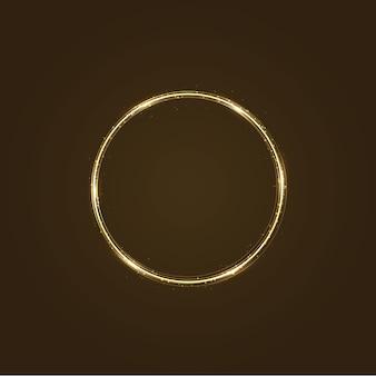 Kreisrahmen mit lichteffekt. goldener komet mit leuchtendem schwanz aus glänzendem sternenstaub funkelt