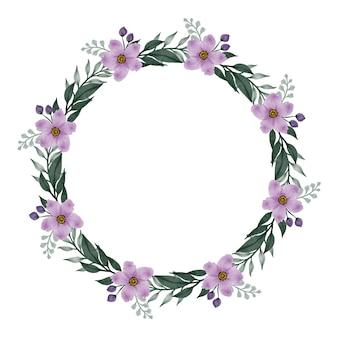 Kreisrahmen mit lila blumenblüte und blattrand für gruß- und hochzeitskarte