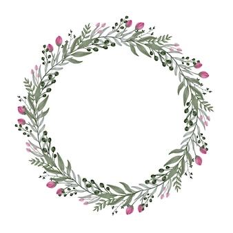Kreisrahmen mit pflanzen- und blumenrand für gruß- und hochzeitskarte