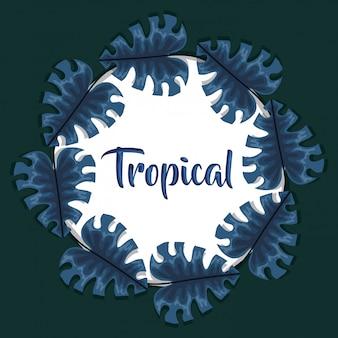 Kreisrahmen mit tropischen blättern