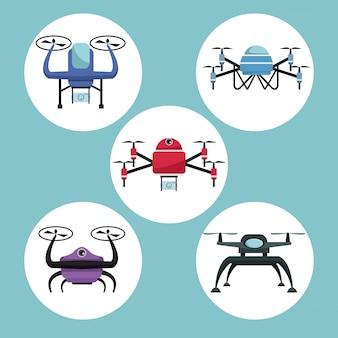 Kreisrahmen stellen ikonen von quadrocoptern und von drohnen ein