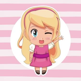 Kreisrahmen und süße anime mädchen wink ausdruck gruß mit blonden langhaarfrisur