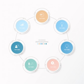 Kreist infografiken für das aktuelle geschäftskonzept ein. 7 optionen, teile oder prozesse.