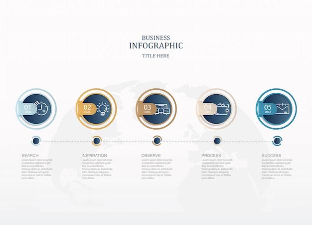 Kreist infographics und ikonen für anwesendes geschäftskonzept ein.