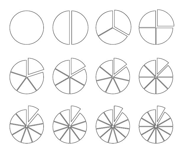 Kreisumriss-chart-fraktionstorte, unterteilt in scheiben runden infografik-segmente